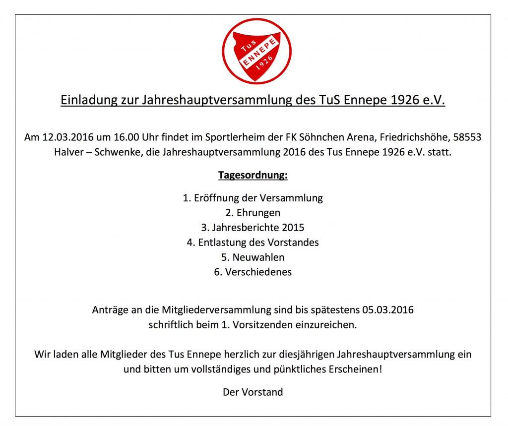 Einladung Jahreshauptversammlung Ennepe 2016